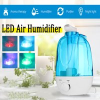 Ultrasonic Humidifier Cool Mist Best Air Humidifiers for Bedroom / Living Room / Baby with LED Night Light  Aroma Diffuser 4Color Home Office Large 4L Water Tank Auto Shut Off