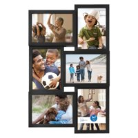 """Mainstays 6-Opening 5"""" x 7"""" Collage Frame with Glass, Black"""