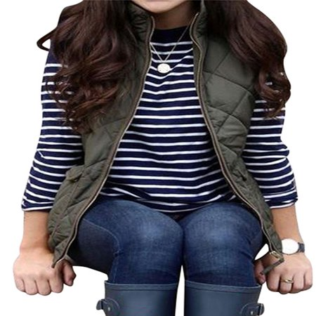 Round Collar Womens Coat - Nlife Women Zip Up Stand Collar Lightweight Quilted Vest Jacket