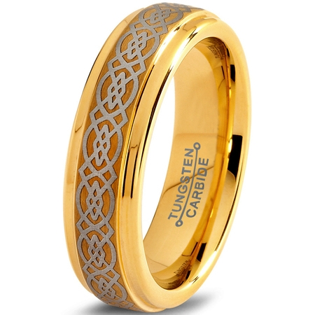 Tungsten Wedding Band Ring 6mm for Men Women Comfort Fit Celtic 18K Yellow Gold Plated Step Beveled Edge Brushed Polished Lifetime Guarantee Black Gold Celtic Bands