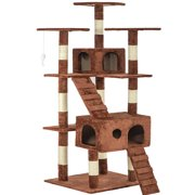 """Best Cat Trees For Large Cats - Brown 73"""" Cat Tree Scratcher Play House Condo Review"""