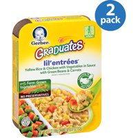 (2 Pack) Gerber Lil' Entrees, Yellow Rice and Chicken with Vegetables in Sauce with Green Beans and Carrots 6.67 oz. Tray
