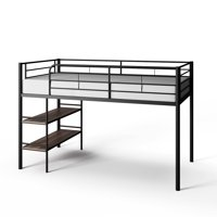 Mainstays Beckett Kids Metal Twin Loft Bed with Open Book Shelf