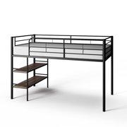 Mainstays Beckett Kids Metal Twin Loft Bed with Open Book Shelf