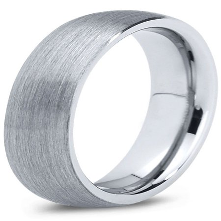 Tungsten Wedding Band Ring 4mm for Men Women Comfort Fit Domed Round Brushed Lifetime Guarantee
