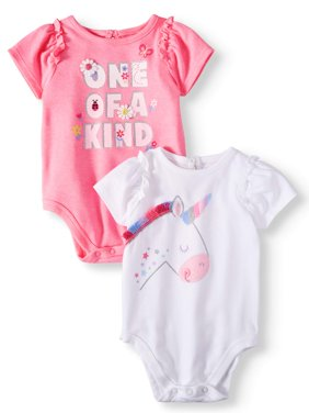 Baby Girls' Ruffle Sleeve Graphic Bodysuits, 2-Piece Multi-Pack