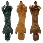 Multipet Plush Long Fox Dog Toy in Assorted Colors