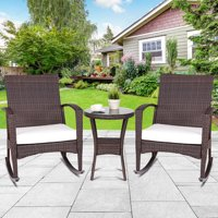 Gymax 3PCS Outdoor Patio Wicker Rattan Rocker Chairs Side Table Bistro Set W/Cushion