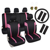 """Leader Accessories Universal Fit Car Seat Covers 17pcs Set with Airbag, 15"""" Steering Wheel Cover + Shoulder Pads, 50/50 40/60 Rear Split Bench, Front Seat Protector"""
