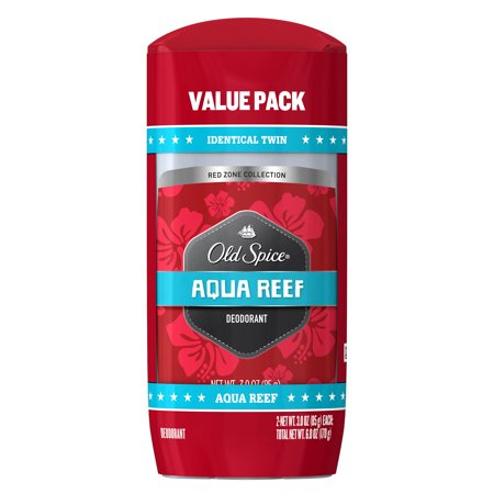 Refresh Reef - Old Spice Red Zone Collection Deodorant Twin Pack, Aqua Reef, 6 oz