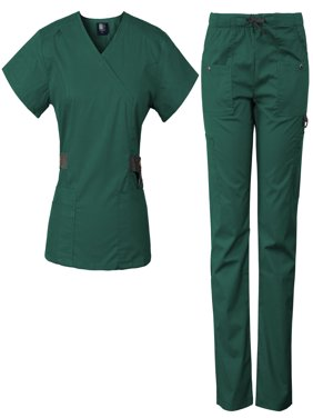 Medgear 12-Pocket Women's Scrub Set with Silver Snap Detail & Contrast Trim