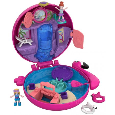 Polly Pocket Mini (Polly Pocket Flamingo Floatie Pool Compact with Polly & Lila Dolls )