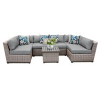TK Classics Florence Wicker 7 Piece Patio Conversation Set with End Table and 2 Sets of Cushion Covers