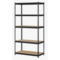 """Muscle Rack 36""""W x 18""""D x 72""""H Five-Shelf Steel Shelving, Black"""