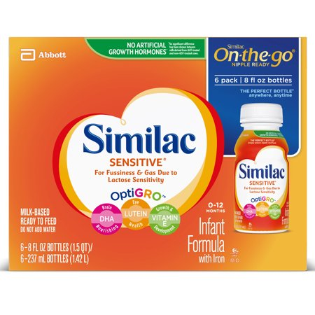 Similac Sensitive For Fussiness and Gas Infant Formula with Iron Baby Formula 8 fl oz Bottles (Pack of