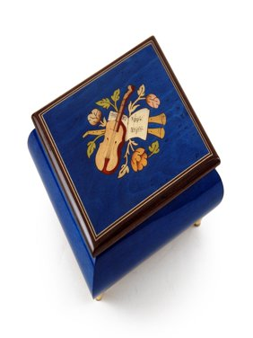 Inspiring Royal Blue Music Theme with Violin Wood Inlay Music Box - And I Love Her