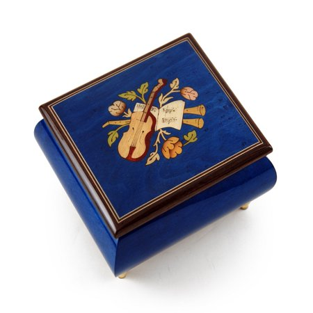 Inspiring Royal Blue Music Theme with Violin Wood Inlay Music Box - And I Love -