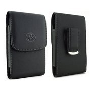 Vertical Leather Case Cover Holster with Swivel Belt Clip FOR MetroPCS Alcatel Fierce 2 * Fits phone w/ Single Layer Case on it *