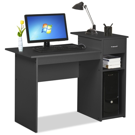 Small Spaces Home Office Black Computer Desk with Drawer and 2 Tiered Storage Shelves - At Work Office Furniture