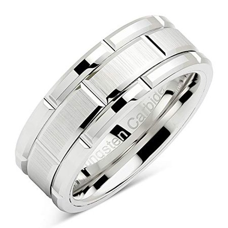Tungsten Rings For Men Wedding Band White Gold Brick Pattern Rhodium Plated Sizes