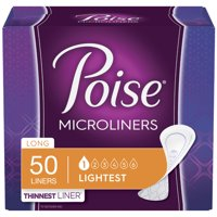 Poise Daily Incontinence Microliners for Women, Long, 50 Ct