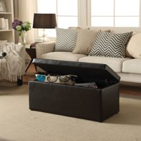 Better Homes & Gardens 30-Inch Hinged Storage Ottoman, Brown