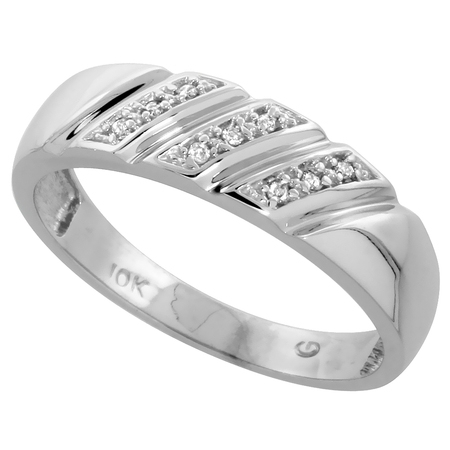 10k White Gold Mens Diamond Wedding Band Ring 0.05 cttw Brilliant Cut, 1/4 inch 6mm