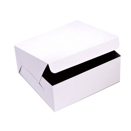 SafePro 993, 9x9x3-Inch Cardboard Cake Boxes, Take Out Disposable Paper Cake Pie Containers, Wholesale White Bakery Box (100)