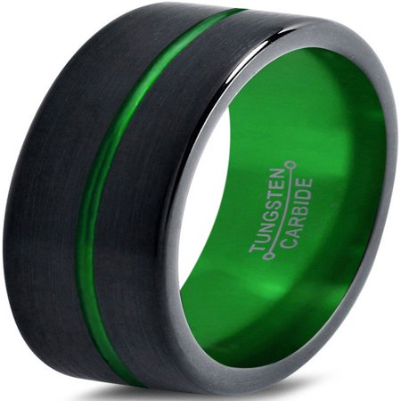 Tungsten Wedding Band Ring 6mm for Men Women Black Green Center Line Flat Pipe Cut Brushed Polished Lifetime (Center Cut Design Band)