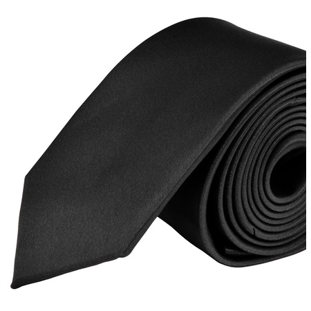 - Moda Di Raza- Mens Skinny Slim Neck Tie - Silk Finish Polyester Men Necktie - Solid Color Long Ties for Men - Fashion Tie - Black