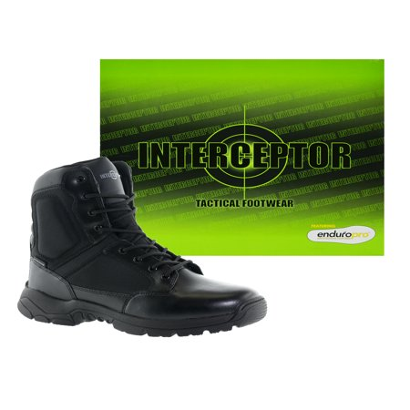 Black Classic Slip On - Interceptor Pilot Men's Zippered Tactical Work Boots, Slip Resistant, Waterproof, Black