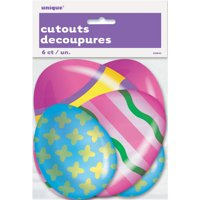 Paper Cutout Mini Bright Easter Egg Decorations, Assorted 6ct