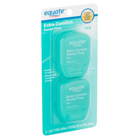 - (2 pack) Equate Extra Comfort Mint Dental Floss, 40 M, 2 Count (Compare to Oral-B Glide Pro-Health Comfort Plus Mint Floss)