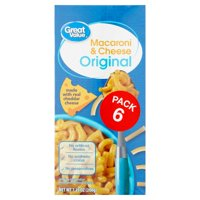 (3 Pack) Great Value Original Macaroni & Cheese, 7.25 oz, 6 count