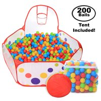 Pop Up Kids Ball Pit, Bundle Combo with 200 Colored Plastic Balls (BPA Free) Playing Tent with Basketball Hoop Ideal for Fun, Education and Therapy for Toddlers, Babies, kids Indoor/Outdoor Play