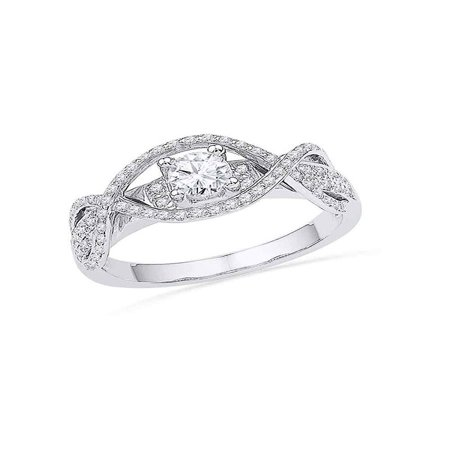14k White Gold Womens Round Diamond Woven Bridal Wedding Engagment Anniversary Ring 1/2 Cttw Diamond Fine Jewelry Ideal Gifts For Women Gift Set From Heart