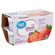 Great Value Light Greek Strawberry Nonfat Yogurt, 5.3 oz, 4 count