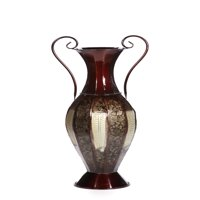 Elegant Expressions by Hosley 2-Tone Metal Vase with Handles, Black and Silver