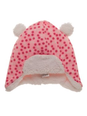68f51b64616 Product Image Toddler Girl s Pink Polka Dot Fleece Bomber Hat with Double  Pom