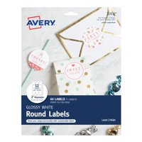 "Avery Round Labels, Permanent Adhesive, Print to the Edge, Glossy White, 2"" Diameter, 60 Labels (22817)"