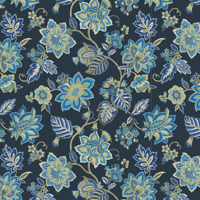 Waverly Inspirations FLORAL BLUE 100% Cotton Duck Fabric 45'' Wide, 180 Gsm, Quilt Crafts Cut By The Yard
