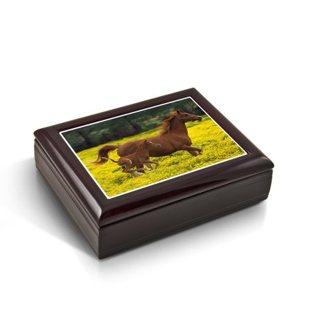 Horse Tile Box - Mother And Baby Horse (Foal) In The Prairie Tile Musical Jewelry Box - Yankee Doodle
