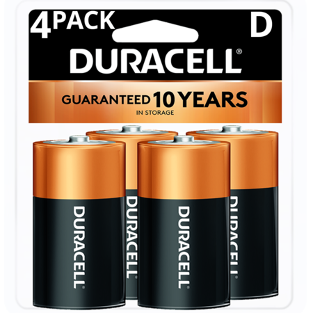 Duracell 1.5V Coppertop Alkaline D Batteries 4 Pack 1.5v Dc Silver Battery