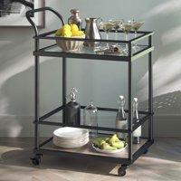Carter Modern Rolling Glass Bar and Serving Cart, 2-Tiered Matte Black Metal Frame, Oak Wood Shelf