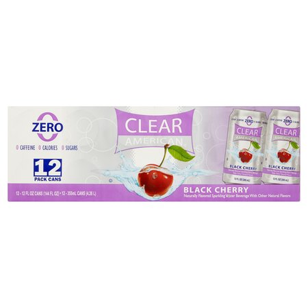 Clear American Black Cherry Sparkling Water, 12 Fl. Oz., 12 Count (Black American Water)
