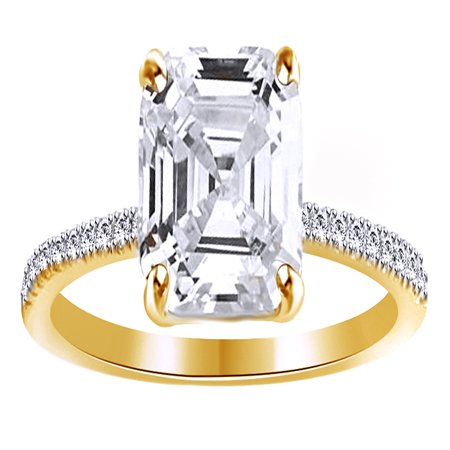Asscher Cubic Zirconia Ring - Asscher Cut White Cubic Zirconia Promise Ring In 14k Yellow Gold Over Sterling Silver