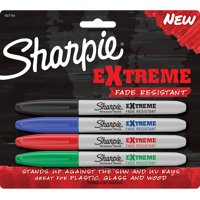 Sharpie Extreme Permanent Markers, Fade Resistant, Fine Point, Assorted, 4 Count
