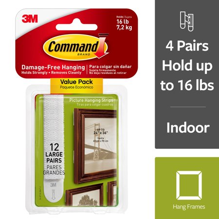 Command By 3m Damage Free Large Picture Hanging Strips White