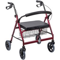 DMI Extra-Wide Rollator Walker with Seat and Basket for Seniors, Heavy Duty Medical Walker, Bariatric Rollator Walker with Seat, Burgundy, Folding