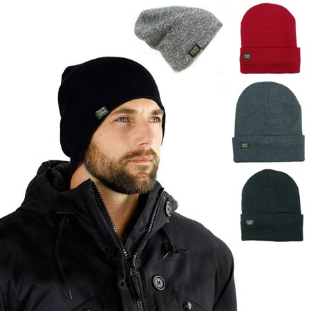 Mens Insulated Thermal Fleece Lined Comfort Daily Soft Beanies Winter Hats (Gray (Cotton Winter Beanie)